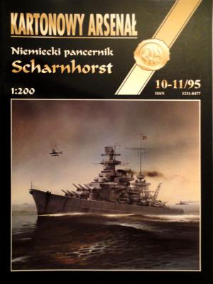 """11    *   10-11\95    *     Niemiecki pancernick """"Scharnhorst"""" (1:200)      *      HAL"""