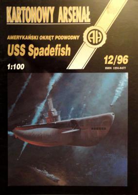 """19    *   12\96    *    Amerykanski okret podwodny """"USS Spadefish"""" (1:100)      *     HAL"""