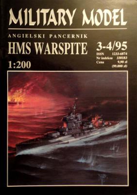 """003    *   3-4\95     *    Angielski pancernick """"HMS Warspite"""" (1:200)     *     HAL *   MM"""