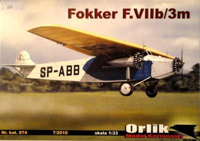 074            *              Fokker F.VIIb/3m (1:33)    *    ORL