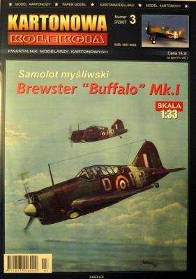 """03      *   3\07    *  Samolot mysliwski Brewster """"Buffalo"""" Mk.I (1:33    *   KART-KOL"""