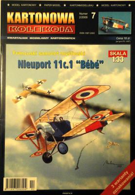 "07       *   2\09    *    Francuski samolot mysliwski Nieuport 11c.1 ""Bebe"" (1:33)    *   KART-KOL"
