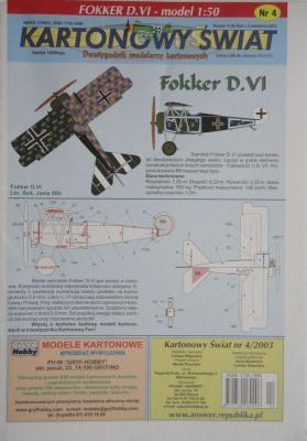 004\03      *      Fokker D.VI (1:50)       *       KS