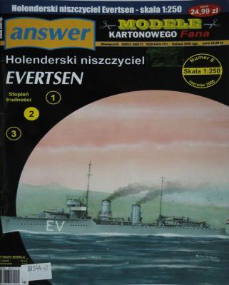 043     *     6\08      *        Holenderski niszczyciel Evertsen (1:250)     *    Answer MKF