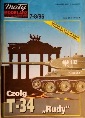 """383     *    7-8\96    *    Czolg T-34 """"Rudy"""" 1:25    *   Mal Mod"""