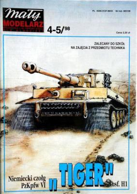 """397     *    4-5\98     *     Niemiecki czolg PzKpfz VI """"Tiger"""" Ausf.H1  1:25     *    Mal Mod"""