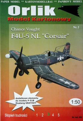 "002    *    Chance Vought F4U-5 NL ""Corsair"" (1:50)    *    ORL"