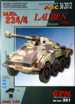 GP-334   36\12\351  *   Sd.Kfz. 234/4 Lauben 1945r. (1:25)  +  резка