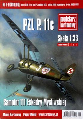 004   *  1-4\10   *  Samolot 111 Eskadry Mysliwskiej PZL P.11c (1:33)   *  Modelarz kartonowy