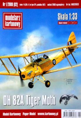 002  *  1\09   *  DH 82A Tiger Moth (1:33)   *   Modelarz kartonowy    +  резка