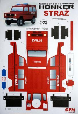 Samochod terenowy Honker  Straz (1:32)    *  GPM   *   для детей иначинающих