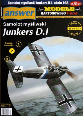 033  * 1\07   *   Samolot Mysliwski Junkers D.I (1:33)    *   ANSWER  MKF    +резка