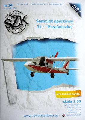 """024    *   Samolot sportowy J-1 """"Przasniczka"""" (1:33)   *  SzK"""