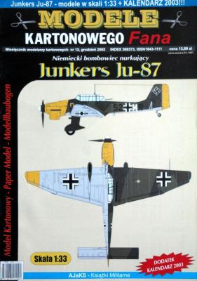 010   *    12/02   *   Niemiecki bomboviec nurkujacy Junkers Ju-87 (1:33)    *   Answ MKF