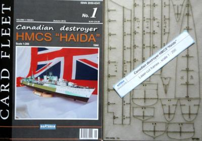 "001   *   1\13   *  Canadian destroyer HMCS ""Haida"" (1:200)   *   NEPTUNIA  + резка"