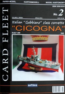 """002   *   2\13   *  Italian """"Gabbiano"""" class corvette """"Cicogna"""" (1:200)   *   NEPTUNIA"""