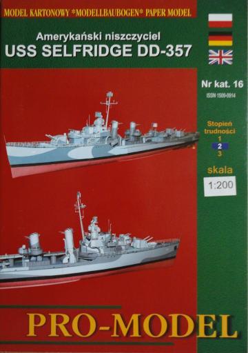 16  *   7\02   *   Amerykanski niszcyciel  USS  SELFRIDGE  DD-357 (1:200)   *   PRO-M